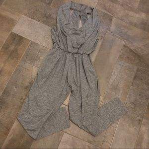 Pants - Gray Lightweight Jersey Knit Jumpsuit